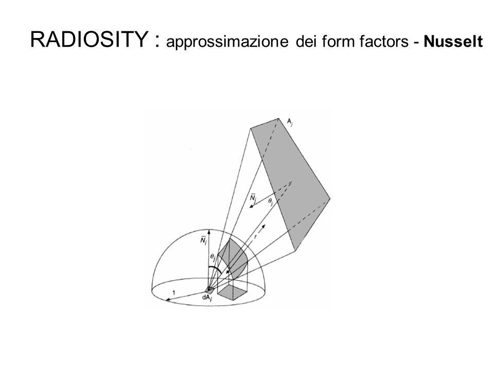 RADIOSITY : approssimazione dei form factors - Nusselt