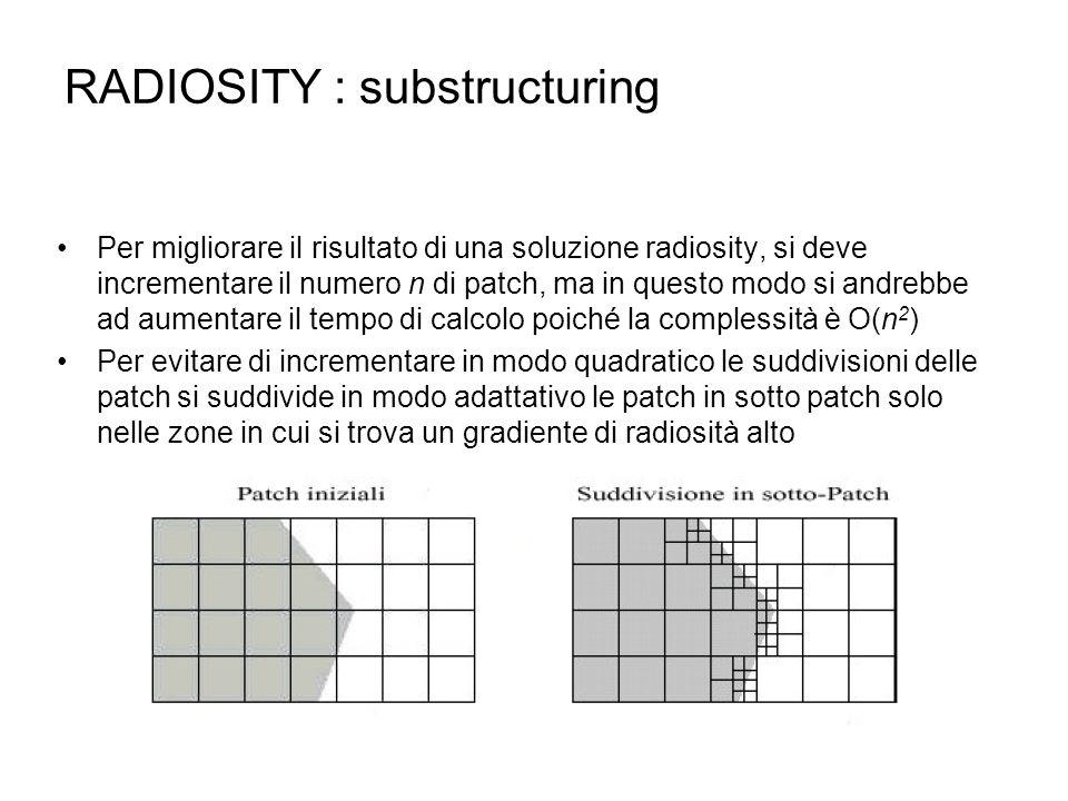 RADIOSITY : substructuring Per migliorare il risultato di una soluzione radiosity, si deve incrementare il numero n di patch, ma in questo modo si and