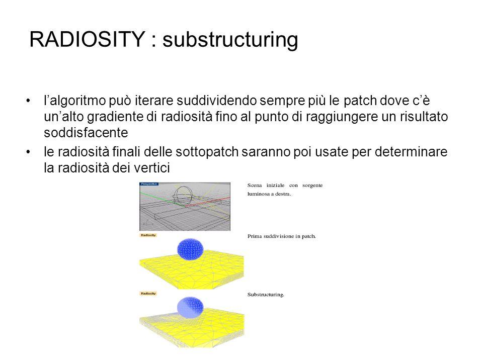 RADIOSITY : substructuring lalgoritmo può iterare suddividendo sempre più le patch dove cè unalto gradiente di radiosità fino al punto di raggiungere