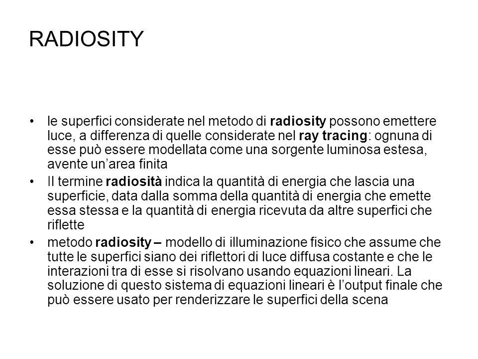 RADIOSITY le superfici considerate nel metodo di radiosity possono emettere luce, a differenza di quelle considerate nel ray tracing: ognuna di esse p