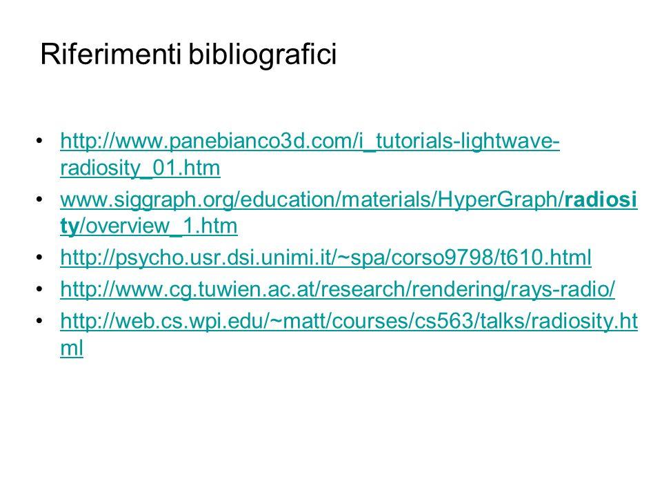 Riferimenti bibliografici http://www.panebianco3d.com/i_tutorials-lightwave- radiosity_01.htmhttp://www.panebianco3d.com/i_tutorials-lightwave- radios
