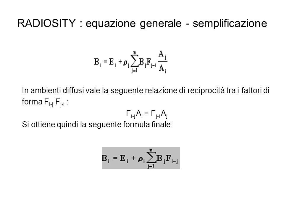 RADIOSITY : equazione generale - semplificazione In ambienti diffusi vale la seguente relazione di reciprocità tra i fattori di forma F i-j F j-i : F