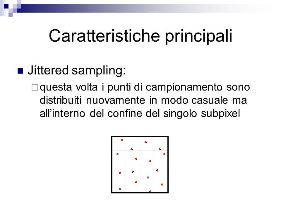 Caratteristiche principali Jittered sampling: questa volta i punti di campionamento sono distribuiti nuovamente in modo casuale ma allinterno del confine del singolo subpixel