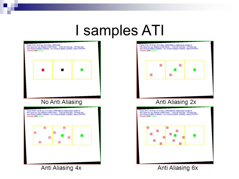 I samples ATI No Anti AliasingAnti Aliasing 2x Anti Aliasing 4xAnti Aliasing 6x