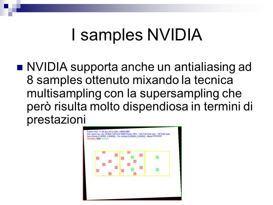 I samples NVIDIA NVIDIA supporta anche un antialiasing ad 8 samples ottenuto mixando la tecnica multisampling con la supersampling che però risulta molto dispendiosa in termini di prestazioni