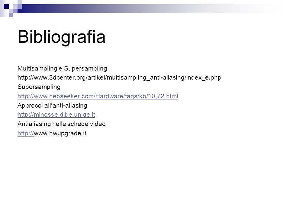 Bibliografia Multisampling e Supersampling http://www.3dcenter.org/artikel/multisampling_anti-aliasing/index_e.php Supersampling http://www.neoseeker.com/Hardware/faqs/kb/10,72.html Approcci allanti-aliasing http://minosse.dibe.unige.it Antialiasing nelle schede video http://http://www.hwupgrade.it