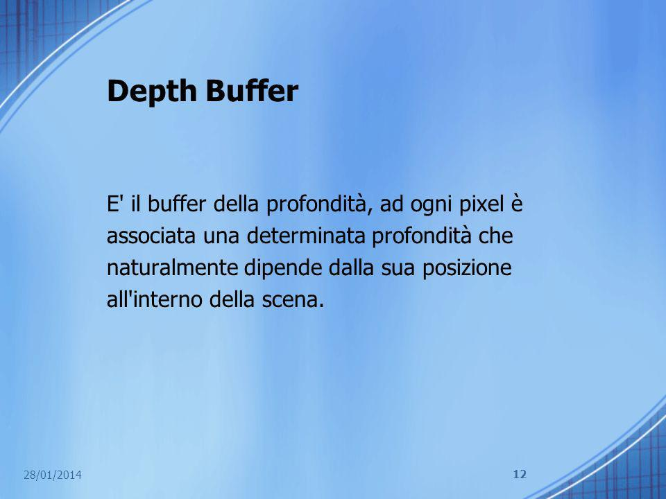 Depth Buffer E' il buffer della profondità, ad ogni pixel è associata una determinata profondità che naturalmente dipende dalla sua posizione all'inte