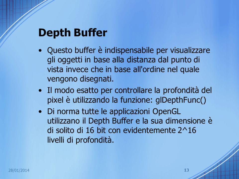Depth Buffer Questo buffer è indispensabile per visualizzare gli oggetti in base alla distanza dal punto di vista invece che in base all'ordine nel qu