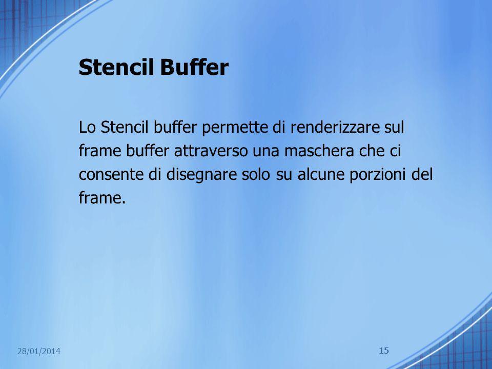 Stencil Buffer Lo Stencil buffer permette di renderizzare sul frame buffer attraverso una maschera che ci consente di disegnare solo su alcune porzion