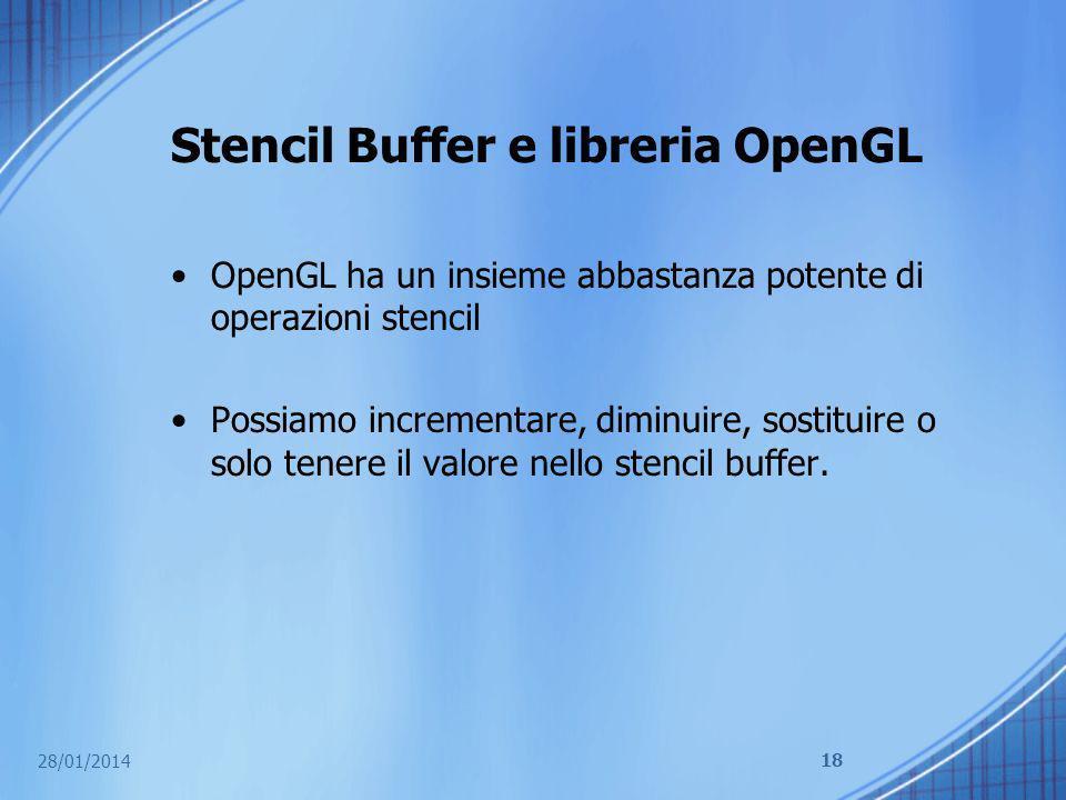 Stencil Buffer e libreria OpenGL OpenGL ha un insieme abbastanza potente di operazioni stencil Possiamo incrementare, diminuire, sostituire o solo ten