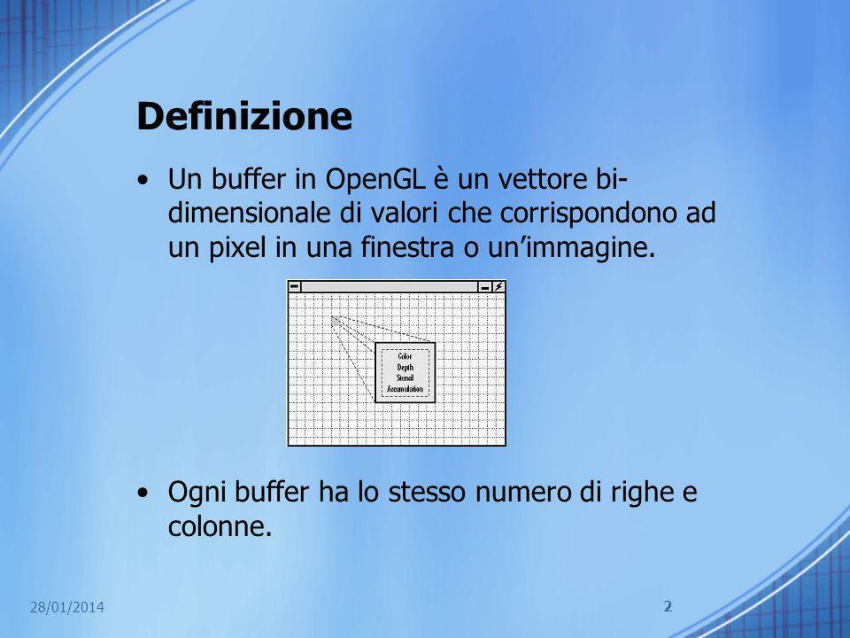 Ruolo del buffer in OpenGL Il ruolo svolto dai buffer in OpenGL e essenziale: a seconda del loro ruolo essi memorizzano particolari informazioni su ogni pixel del frame che si sta renderizzando.