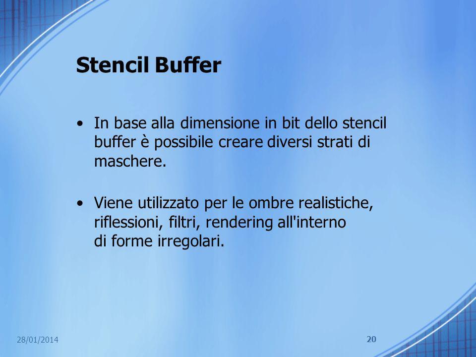 Stencil Buffer In base alla dimensione in bit dello stencil buffer è possibile creare diversi strati di maschere. Viene utilizzato per le ombre realis