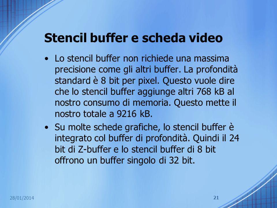 Stencil buffer e scheda video Lo stencil buffer non richiede una massima precisione come gli altri buffer. La profondità standard è 8 bit per pixel. Q