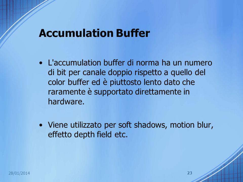Accumulation Buffer L'accumulation buffer di norma ha un numero di bit per canale doppio rispetto a quello del color buffer ed è piuttosto lento dato