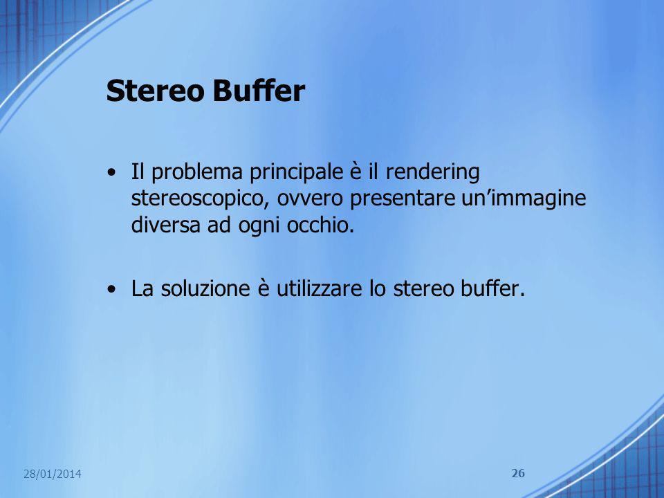 Stereo Buffer Il problema principale è il rendering stereoscopico, ovvero presentare unimmagine diversa ad ogni occhio. La soluzione è utilizzare lo s