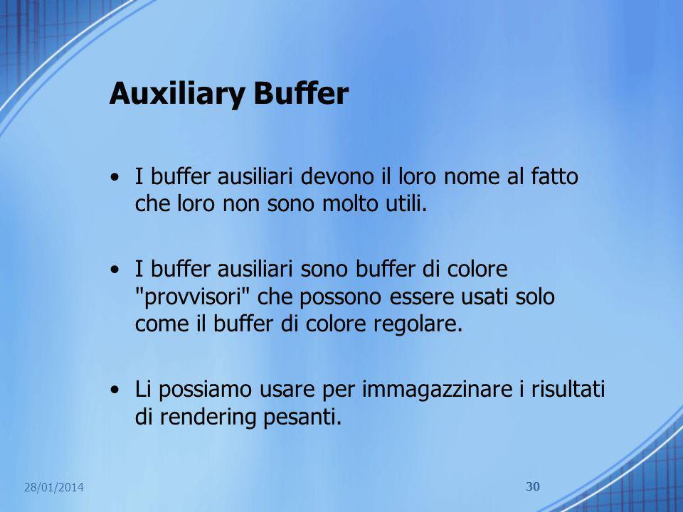 Auxiliary Buffer I buffer ausiliari devono il loro nome al fatto che loro non sono molto utili. I buffer ausiliari sono buffer di colore