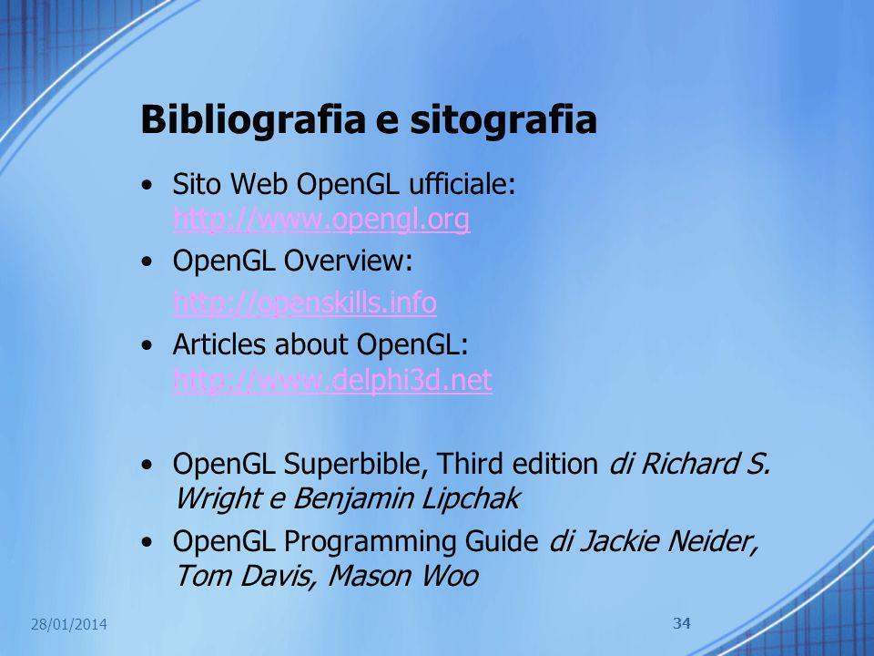 Bibliografia e sitografia Sito Web OpenGL ufficiale: http://www.opengl.org http://www.opengl.org OpenGL Overview: http://openskills.info Articles abou