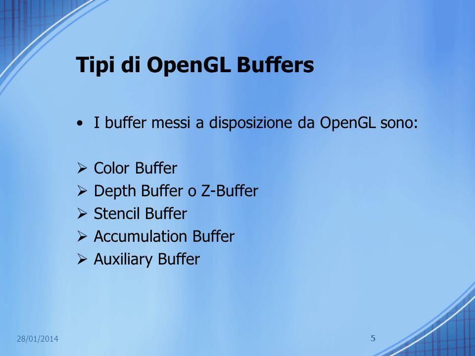 Tipi di OpenGL Buffers I buffer messi a disposizione da OpenGL sono: Color Buffer Depth Buffer o Z-Buffer Stencil Buffer Accumulation Buffer Auxiliary