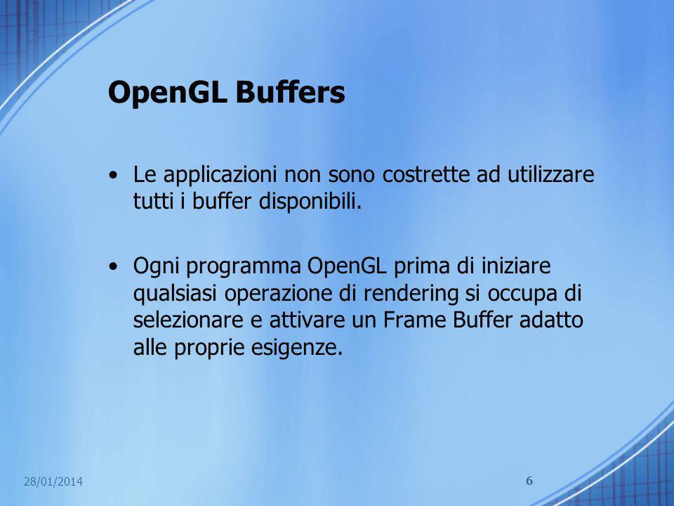 OpenGL Buffers Le applicazioni non sono costrette ad utilizzare tutti i buffer disponibili. Ogni programma OpenGL prima di iniziare qualsiasi operazio