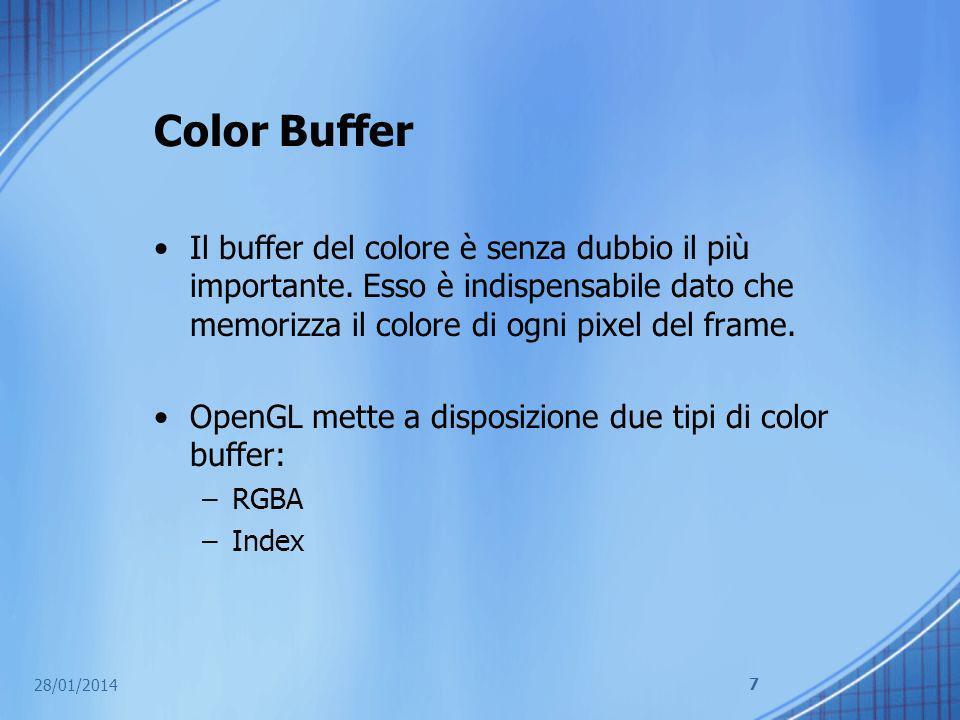 Color Buffer Il buffer del colore è senza dubbio il più importante. Esso è indispensabile dato che memorizza il colore di ogni pixel del frame. OpenGL