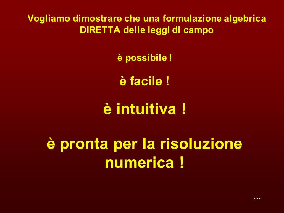...È possibile una formulazione algebrica DIRETTA dei campi fisici .