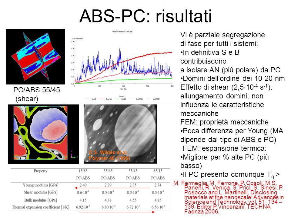 ABS-PC: risultati Vi è parziale segregazione di fase per tutti i sistemi; In definitiva S e B contribuiscono a isolare AN (più polare) da PC Domini de