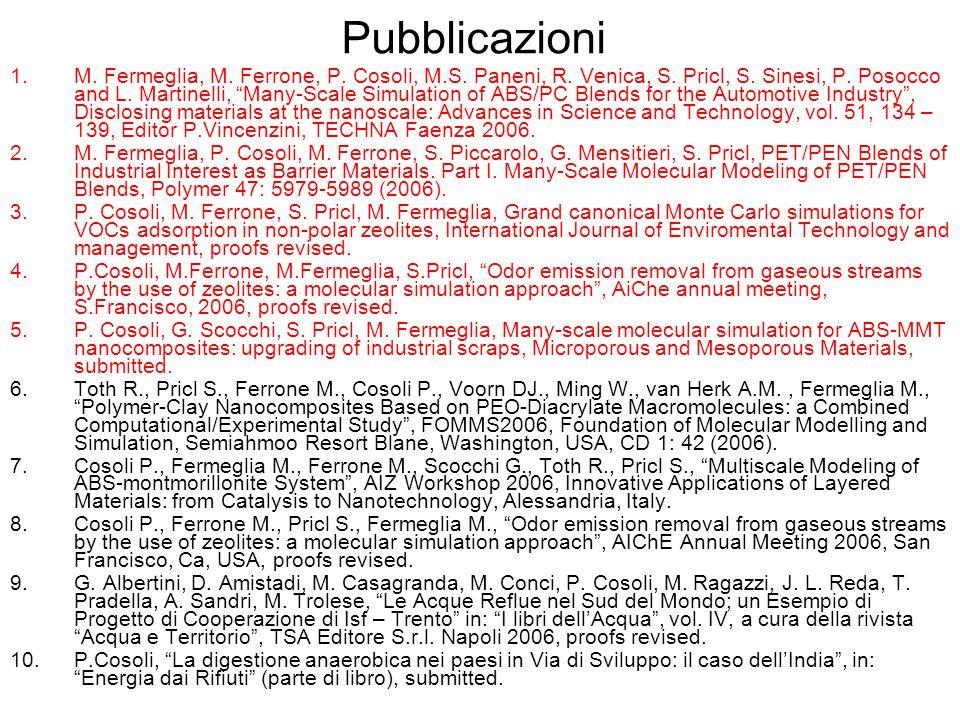 Pubblicazioni 1.M. Fermeglia, M. Ferrone, P. Cosoli, M.S. Paneni, R. Venica, S. Pricl, S. Sinesi, P. Posocco and L. Martinelli, Many-Scale Simulation
