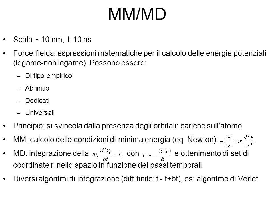 MM/MD Scala ~ 10 nm, 1-10 ns Force-fields: espressioni matematiche per il calcolo delle energie potenziali (legame-non legame). Possono essere: –Di ti