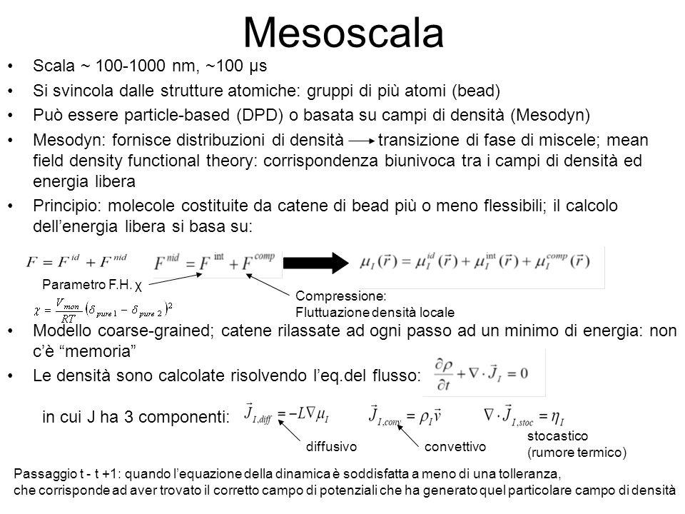 Mesoscala Scala ~ 100-1000 nm, ~100 μs Si svincola dalle strutture atomiche: gruppi di più atomi (bead) Può essere particle-based (DPD) o basata su ca