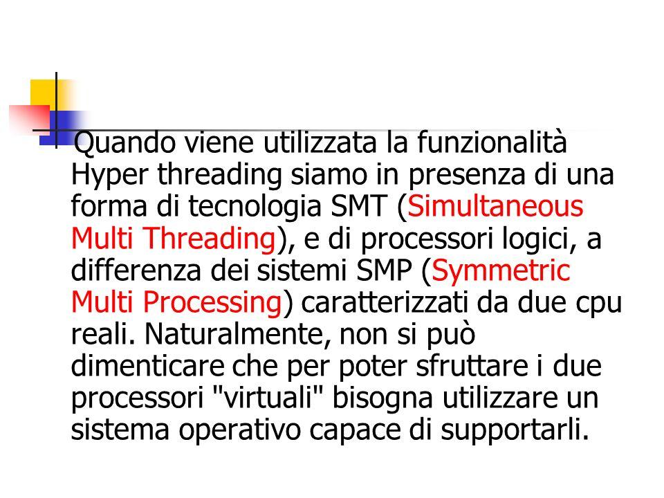 Quando viene utilizzata la funzionalità Hyper threading siamo in presenza di una forma di tecnologia SMT (Simultaneous Multi Threading), e di processo