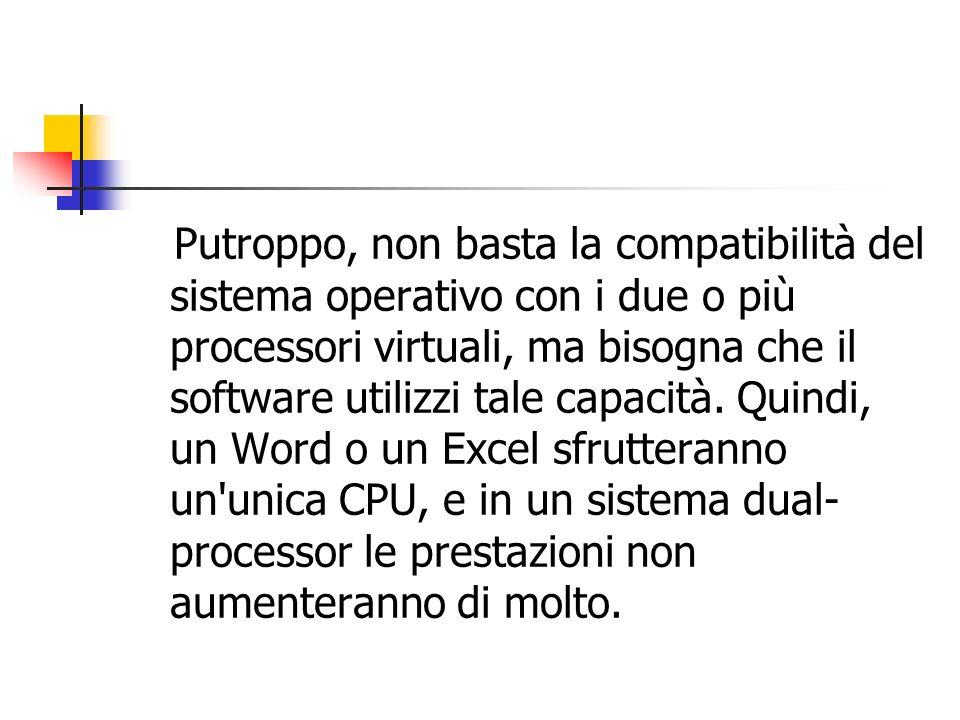 Putroppo, non basta la compatibilità del sistema operativo con i due o più processori virtuali, ma bisogna che il software utilizzi tale capacità. Qui