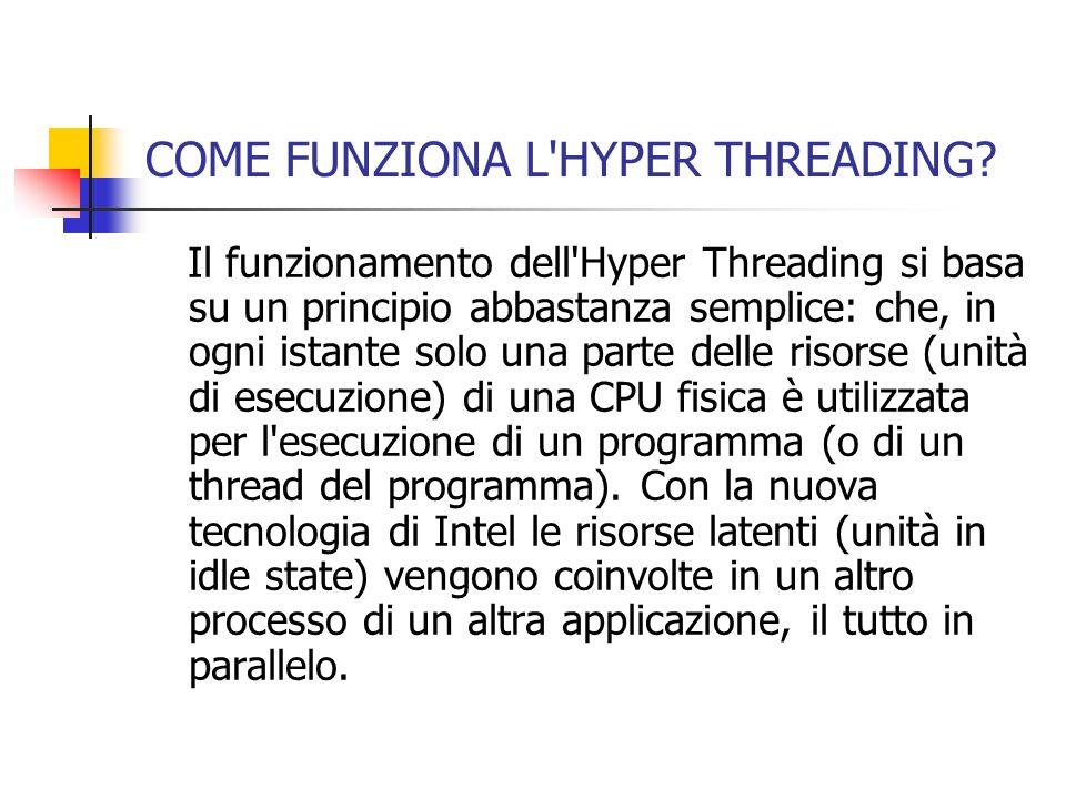 COME FUNZIONA L'HYPER THREADING? Il funzionamento dell'Hyper Threading si basa su un principio abbastanza semplice: che, in ogni istante solo una part