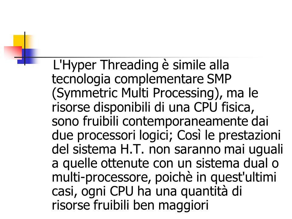 L'Hyper Threading è simile alla tecnologia complementare SMP (Symmetric Multi Processing), ma le risorse disponibili di una CPU fisica, sono fruibili