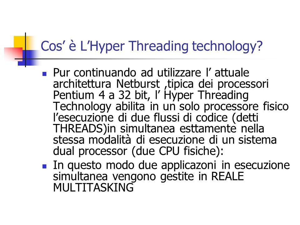 Cos è LHyper Threading technology? Pur continuando ad utilizzare l attuale architettura Netburst,tipica dei processori Pentium 4 a 32 bit, l Hyper Thr