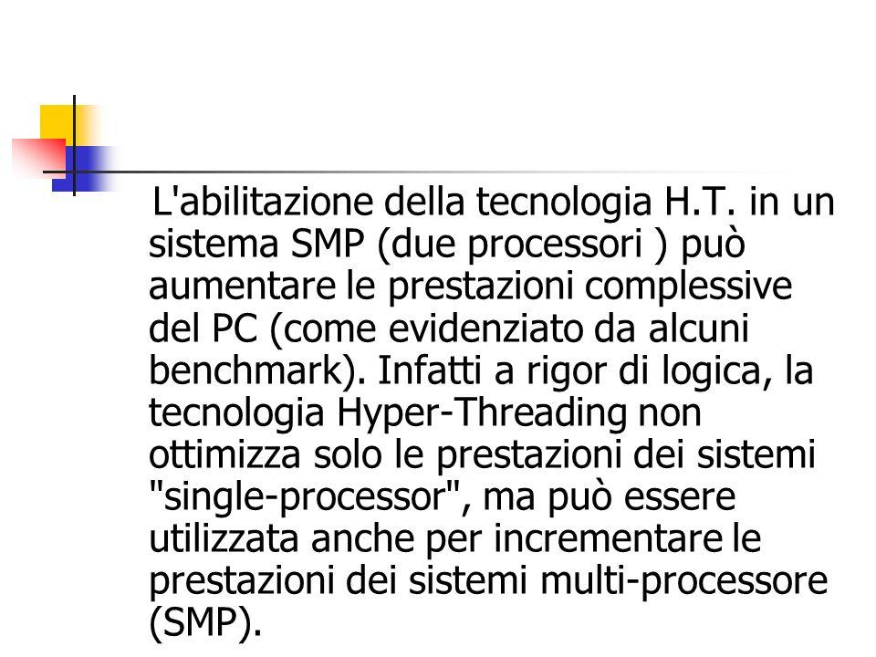 L'abilitazione della tecnologia H.T. in un sistema SMP (due processori ) può aumentare le prestazioni complessive del PC (come evidenziato da alcuni b