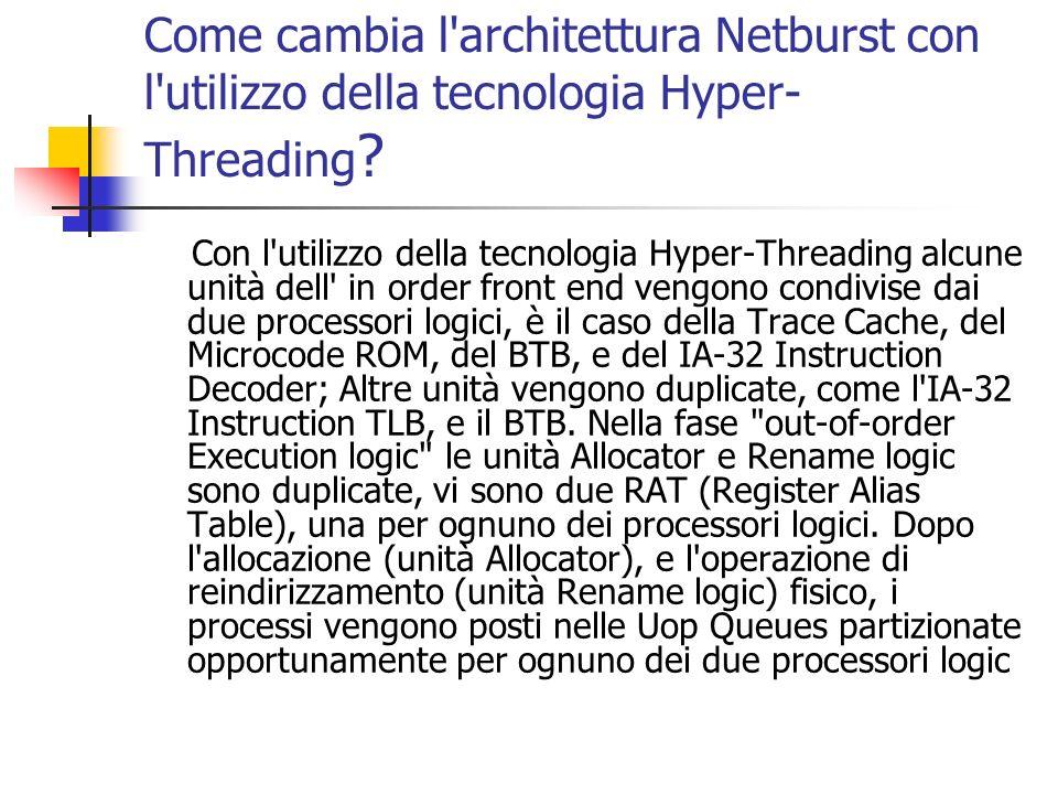 Come cambia l'architettura Netburst con l'utilizzo della tecnologia Hyper- Threading ? Con l'utilizzo della tecnologia Hyper-Threading alcune unità de