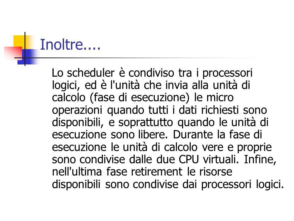 Inoltre.... Lo scheduler è condiviso tra i processori logici, ed è l'unità che invia alla unità di calcolo (fase di esecuzione) le micro operazioni qu