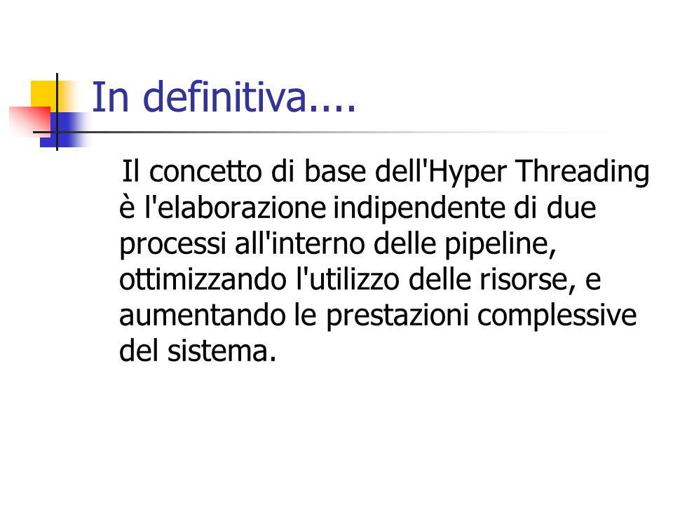 In definitiva.... Il concetto di base dell'Hyper Threading è l'elaborazione indipendente di due processi all'interno delle pipeline, ottimizzando l'ut