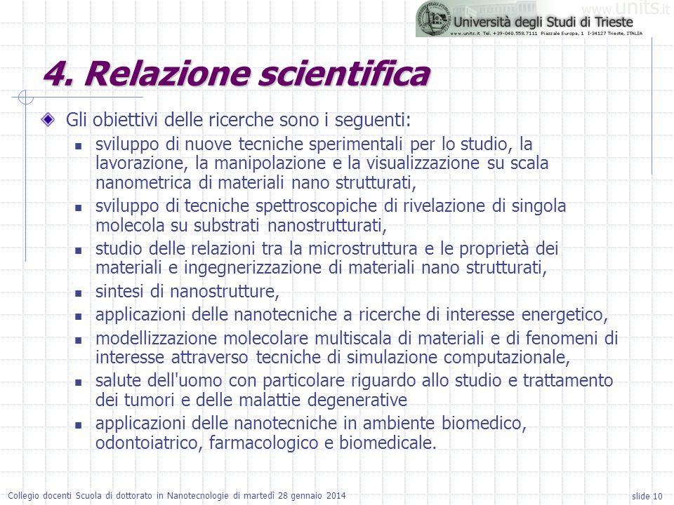 slide 10 Collegio docenti Scuola di dottorato in Nanotecnologie di martedì 28 gennaio 2014 Gli obiettivi delle ricerche sono i seguenti: sviluppo di n