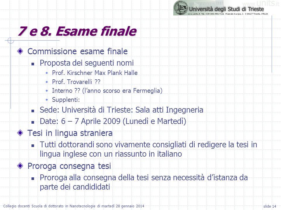 slide 14 Collegio docenti Scuola di dottorato in Nanotecnologie di martedì 28 gennaio 2014 Commissione esame finale Proposta dei seguenti nomi Prof. K