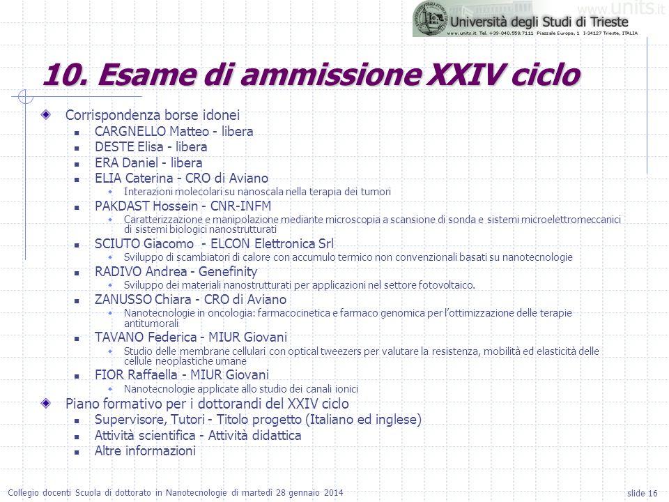 slide 16 Collegio docenti Scuola di dottorato in Nanotecnologie di martedì 28 gennaio 2014 Corrispondenza borse idonei CARGNELLO Matteo - libera DESTE