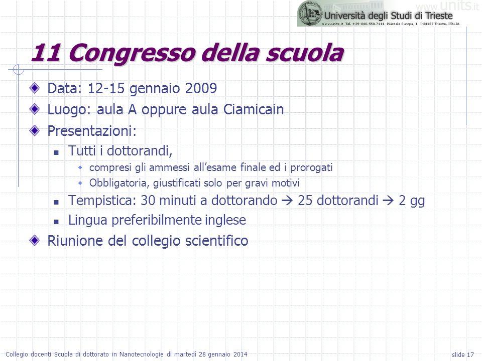 slide 17 Collegio docenti Scuola di dottorato in Nanotecnologie di martedì 28 gennaio 2014 11 Congresso della scuola Data: 12-15 gennaio 2009 Luogo: a