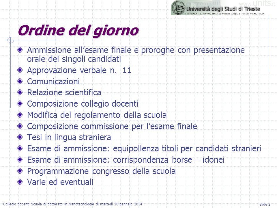 slide 2 Collegio docenti Scuola di dottorato in Nanotecnologie di martedì 28 gennaio 2014 Ordine del giorno Ammissione allesame finale e proroghe con