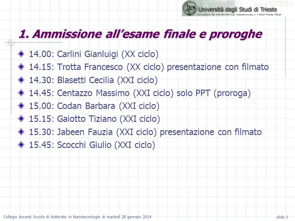 slide 3 Collegio docenti Scuola di dottorato in Nanotecnologie di martedì 28 gennaio 2014 14.00: Carlini Gianluigi (XX ciclo) 14.15: Trotta Francesco