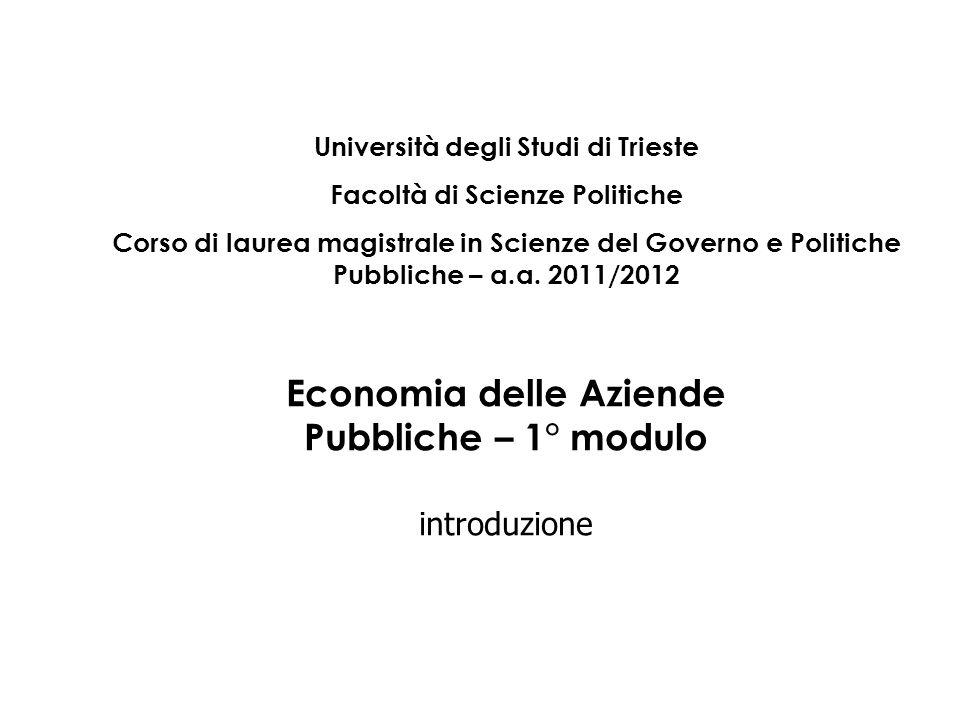 Economia delle Aziende Pubbliche – 1° modulo introduzione Università degli Studi di Trieste Facoltà di Scienze Politiche Corso di laurea magistrale in