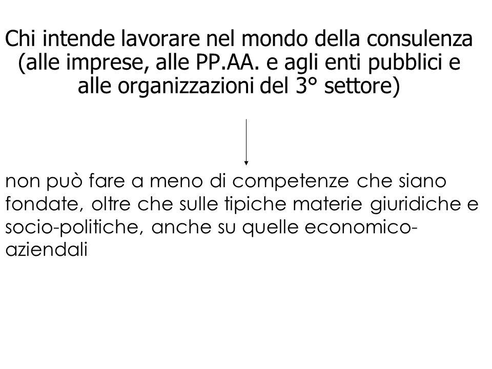 Chi intende lavorare nel mondo della consulenza (alle imprese, alle PP.AA. e agli enti pubblici e alle organizzazioni del 3° settore) non può fare a m