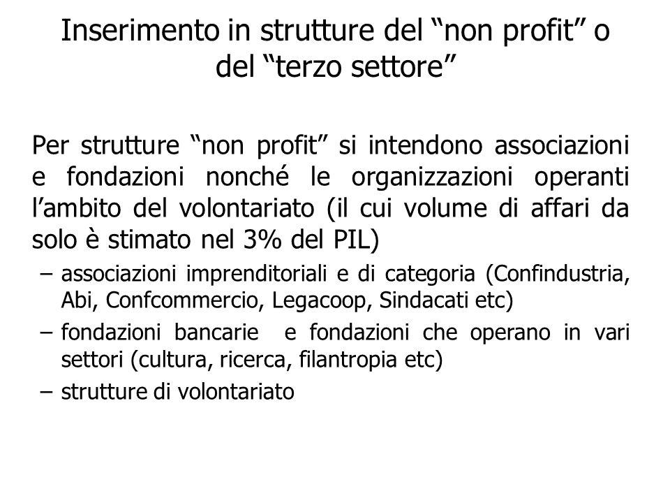 Inserimento in strutture del non profit o del terzo settore Per strutture non profit si intendono associazioni e fondazioni nonché le organizzazioni o
