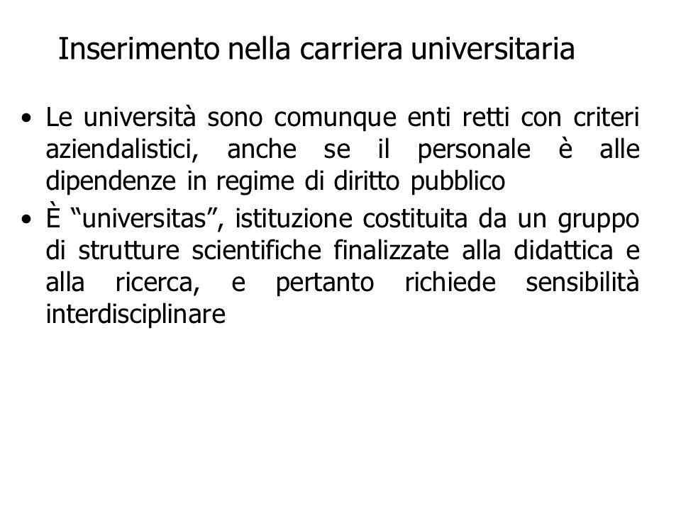 Inserimento nella carriera universitaria Le università sono comunque enti retti con criteri aziendalistici, anche se il personale è alle dipendenze in