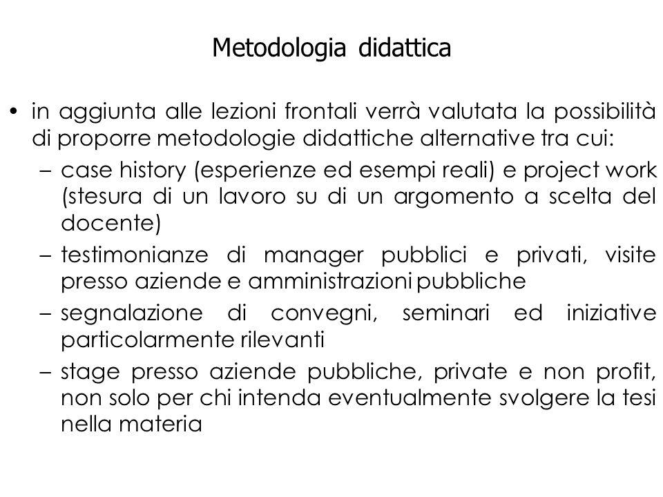 Metodologia didattica in aggiunta alle lezioni frontali verrà valutata la possibilità di proporre metodologie didattiche alternative tra cui: –case hi