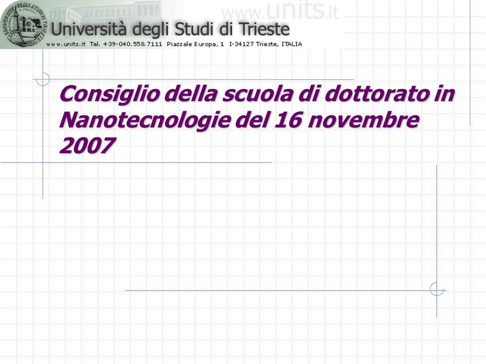 Consiglio della scuola di dottorato in Nanotecnologie del 16 novembre 2007